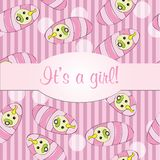 Baby girls seamless pattern  for card - it is a girl Stock Photos