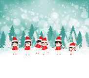 Baby girls on Winter forest background Stock Images