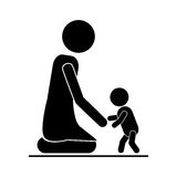 Baby giving his first steps with mom. Vector illustration Stock Photo