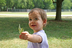 Baby Giving Leaf. Adorable baby girl handing leaf to photoghapher. Shot with a Canon 20D royalty free stock images