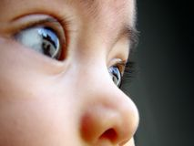 Baby Glance. Baby looking the building and sky royalty free stock photography