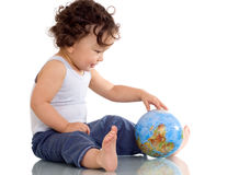 Baby with globe. Royalty Free Stock Photos
