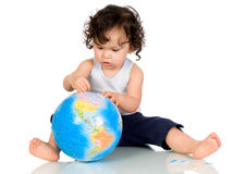 Baby with globe. Stock Images
