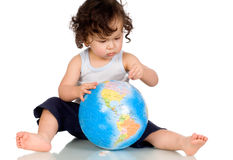 Baby with globe. Royalty Free Stock Photo