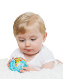 Baby with globe. Royalty Free Stock Image