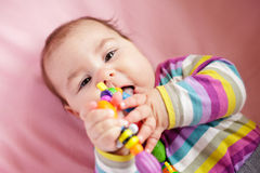 Baby are gnawing a toy Stock Photo