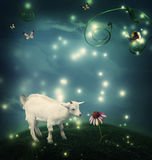 Baby goat in fantasy hilltop with snail and butterflies. Baby goat in a fantasy hilltop landscape with a snail and butterflies Stock Image
