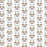 Baby Goats  seamless pattern / cartoon - Illustration Royalty Free Stock Photo