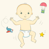 Baby goes. Baby in diaper making its first steps Royalty Free Stock Photography
