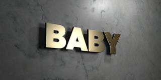 Baby - Gold sign mounted on glossy marble wall  - 3D rendered royalty free stock illustration. This image can be used for an online website banner ad or a Royalty Free Stock Photos