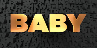 Baby - Gold text on black background - 3D rendered royalty free stock picture Stock Photos