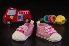 Baby Good Times. Pretty little babies pink shoes royalty free stock photography