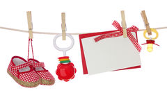 Baby goods and blank note Royalty Free Stock Photography