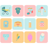 Baby goods. Children flat icons. Stock Photo