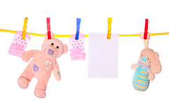 Baby goods hanging on the clothesline Stock Photography