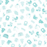 Baby goods. Pattern of baby goods icons. Children flat icons. Royalty Free Stock Images