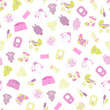 Baby goods. Pattern of baby goods icons. Children flat icons. Stock Photo