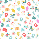 Baby goods. Seamless pattern of baby goods icons Royalty Free Stock Image