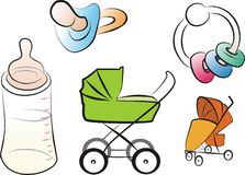Baby goods set. Set of isolated baby goods and toys royalty free illustration