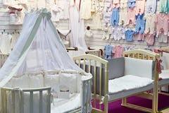 Baby goods store. Newborn baby goods big store Royalty Free Stock Image