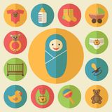 Baby goods vector icons set stock illustration