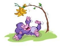 Baby gorilla. A purple, baby gorilla cartoon character Stock Photography