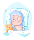 Baby got sick. Lying in bed with a thermometer royalty free illustration