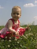 Baby in grass 2 Stock Image
