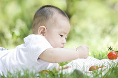 A baby on grass. A Chinese baby is trying eating on grass Royalty Free Stock Photo