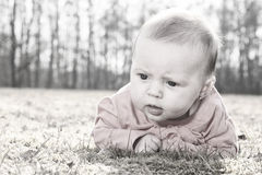 Baby on the grasss desaturated Royalty Free Stock Photos