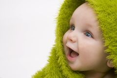 Baby In Green royalty free stock image