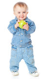 Baby with green apple Stock Photo