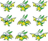 Baby green dragon emotions Stock Photos