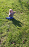 Baby in the green grass Royalty Free Stock Photo