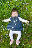 Baby on green grass Stock Images