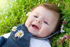 Baby on green grass stock photos