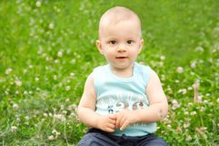 Baby on green grass Royalty Free Stock Photos