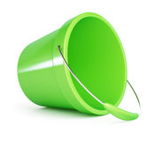 Baby green plastic bucket. On a white background Royalty Free Stock Photos