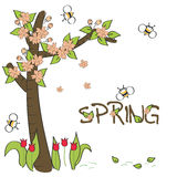 Baby greeting card. Happy spring. Vector illustration card Vector Illustration