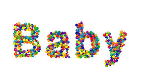 Baby greeting card design with colorful balls. In the colors of the rainbow forming the letters  on white with copy space for your announcement or Stock Photos