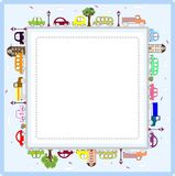 Baby Greeting Card Or Frame With Cars Stock Photos