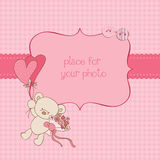 Baby Greeting Card with Photo Frame. Wonderful Baby Greeting Card with Photo Frame and place for your text in  for your baby Royalty Free Stock Photography