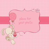 Baby Greeting Card with Photo Frame. Beautiful Baby Greeting Card with Photo Frame and place for your text in  for your baby Stock Photos
