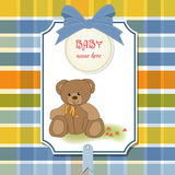 Baby greeting card with teddy bear Stock Images