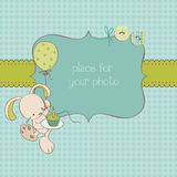 Baby Greeting Card With Photo Frame Royalty Free Stock Image