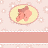 Baby greetings card. With pink bootees Stock Photo