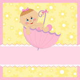 Baby greetings card. With pink umbrella Royalty Free Stock Photography