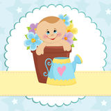 Baby greetings card. With blue watering can Stock Image