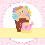 Baby greetings card. With pink watering can Royalty Free Stock Photo