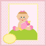 Baby greetings card. With girl and bottle Stock Photography